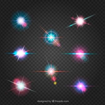 Ensemble de lumière flare colorée avec un style réaliste