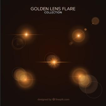 Ensemble de lumière flare or avec un style réaliste