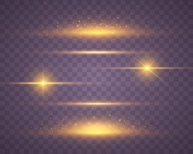 Ensemble de lumière jaune et or éclatante explose sur la transparence