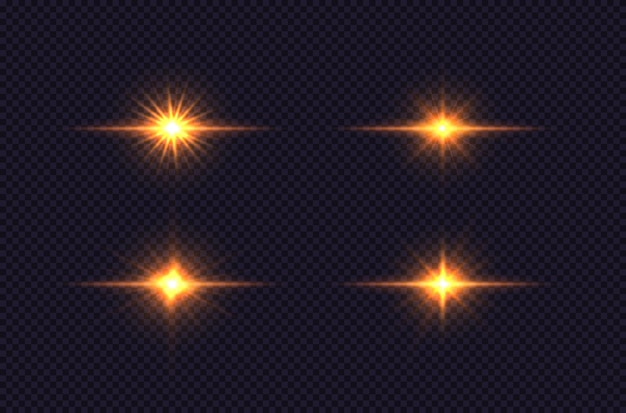 Ensemble de lumière rougeoyante étoile brillante explose la conception