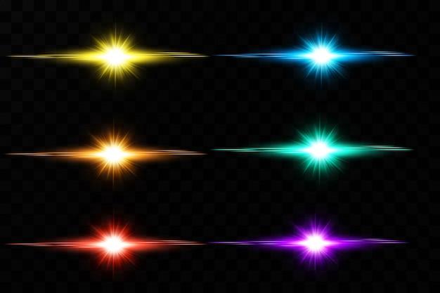 Un ensemble de lumière rougeoyante explose. des particules de poussière magiques étincelantes. l'étoile éclate d'étincelles. paillettes d'or bright star. soleil brillant transparent, flash brillant