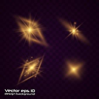 Ensemble de lumière rougeoyante en or jaune explose sur un fond transparent. des particules de poussière magiques étincelantes. bright star soleil brillant transparent, flash lumineux. éclater de poussière et d'éclat isolé. vecteur