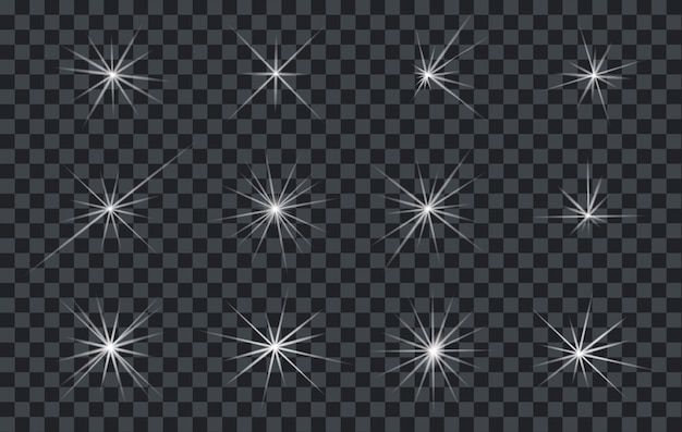 Ensemble de lumières abstraites brillantes éclairants ou étoiles avec un fond transparent