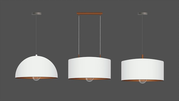 Ensemble de lumières blanches réalistes. plafonnier de style loft.