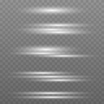 Ensemble de lumières de flashs et d'étincelles lumières dorées abstraites isolées sur fond transparent