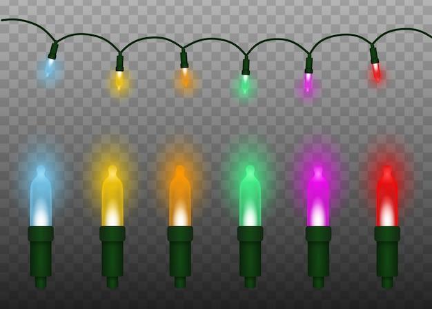 Ensemble de lumières de noël colorées