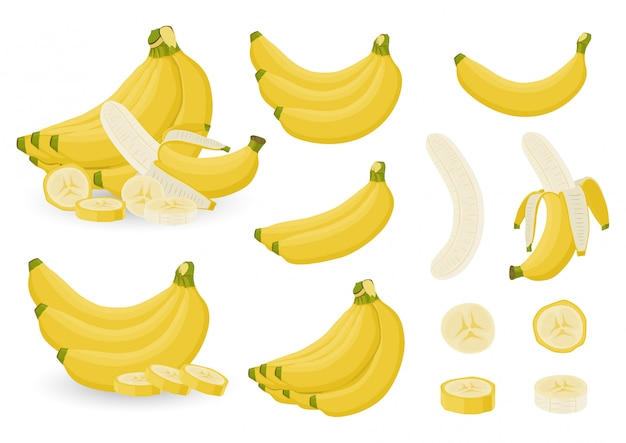 Ensemble lumineux de grappes de bananes fraîches et de tranches de bananes sur fond blanc.