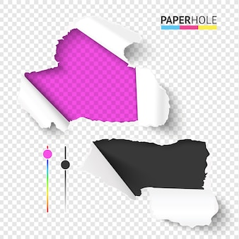 Ensemble lumineux de morceaux de papier déchiré réaliste vide avec des bords déchirés du trou