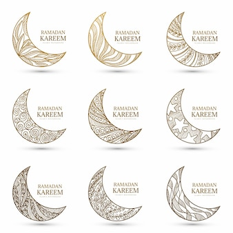 Ensemble de lune ramadan kareem