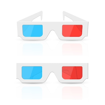 Ensemble de lunettes 3d isolé sur blanc.