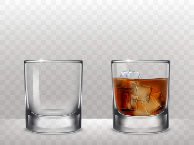 Ensemble de lunettes pour l'alcool dans un style réaliste