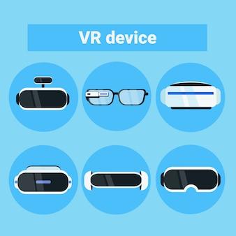 Ensemble de lunettes de réalité virtuelle moderne, collection de lunettes et casque avec icônes