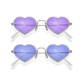Ensemble de lunettes de soleil réalistes avec montures colorées en forme de coeur