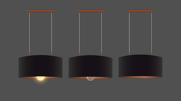Ensemble de lustres noirs réalistes. plafonnier. style loft. élément de design d'intérieur.