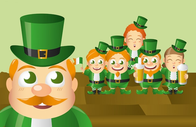 Ensemble de lutin irlandais, st patricks day