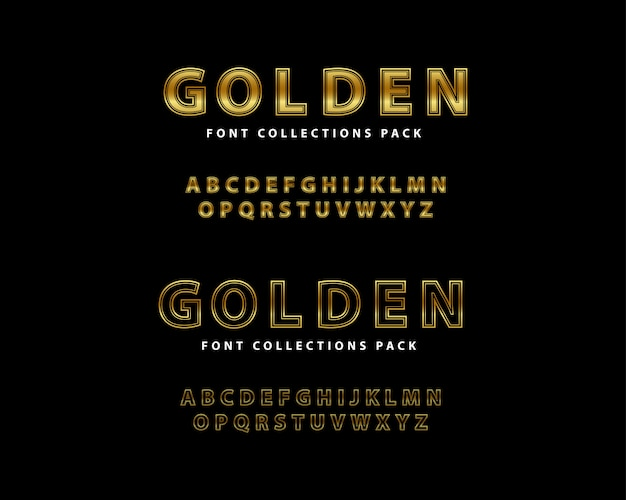 Ensemble de luxe golden font