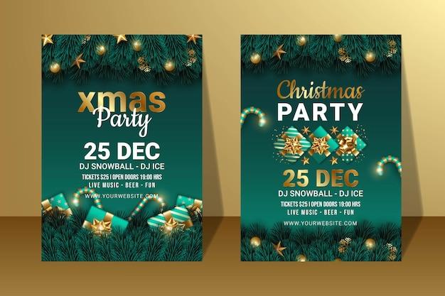 Ensemble de luxe d'illustration de conception d'affiche de fête de joyeux noël et de bonne année