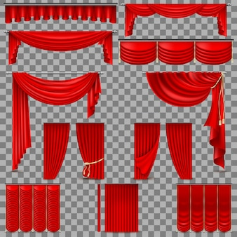Ensemble de luxe de rideaux de soie en velours rouge. isolé sur fond transparent.