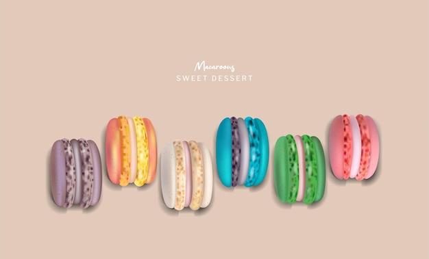 Ensemble de macarons colorés vector réaliste. illustrations détaillées en 3d