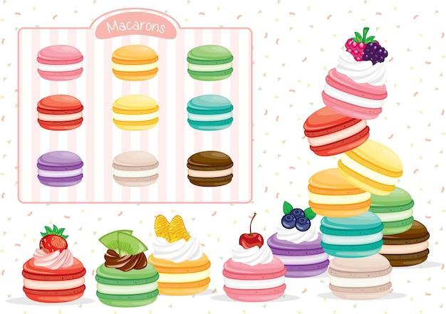 Ensemble de macarons dessert délicieux aux fruits colorés
