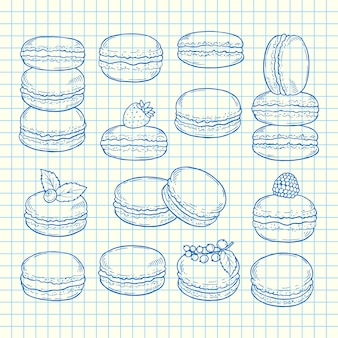 Ensemble de macarons dessinés à la main sur l'illustration de la feuille de cellule