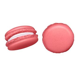 Ensemble de macarons sur fond blanc avec des groupes de deux gâteaux aux amandes sous différents angles illustration