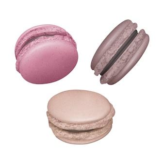 Ensemble de macarons avec garniture au chocolat sous différents angles, macarons français sur fond blanc, illustration