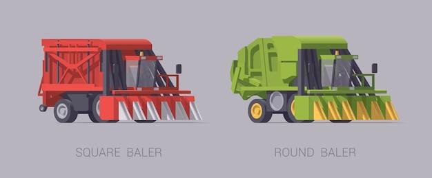 Ensemble de machine agricole isolé sur gris