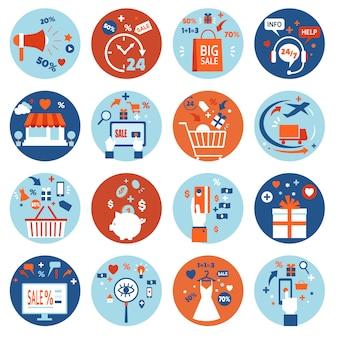 Ensemble de magasinage en ligne e-commerce