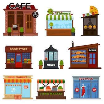 Ensemble de magasins et cafés