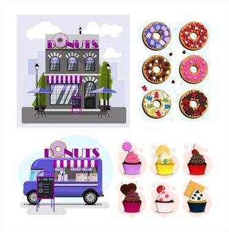 Un ensemble de magasins de vecteurs de restaurants et de cafés design plat de façades fourgon de nourriture de rue