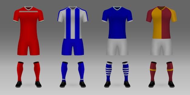 Ensemble de maillot de football modèle 3d réaliste lokomotiv moscou, porto, schalke, galatasaray.