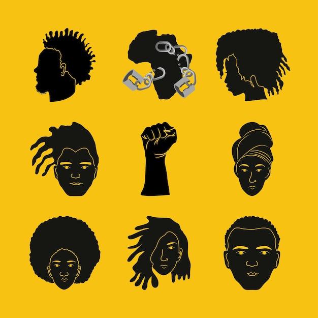 Ensemble de main de carte de peuple africain