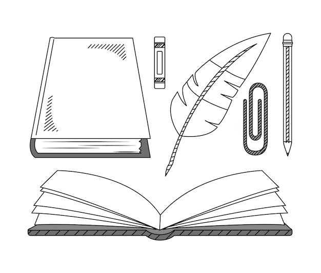 Ensemble de main dessiner la collection de dessins animés de l'éducation