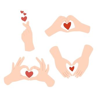 Ensemble de main différente faisant signe d'amour de coeur