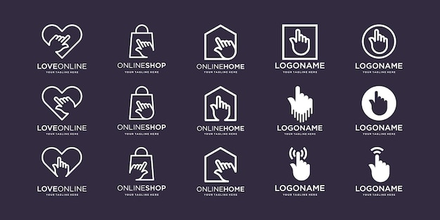 Ensemble de main doigt écran tactile logo love bag home square combiné avec le signe du curseur de l'élément