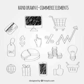 Ensemble à main tiré d'éléments de commerce électronique
