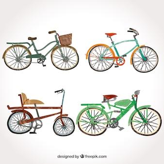 Ensemble à la main de vélos vintage