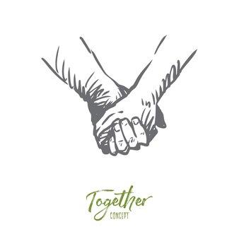 Ensemble, mains, amitié, amour, concept de partenariat. personnes dessinées à la main se serrant la main ou tenant un croquis de concept de mains.