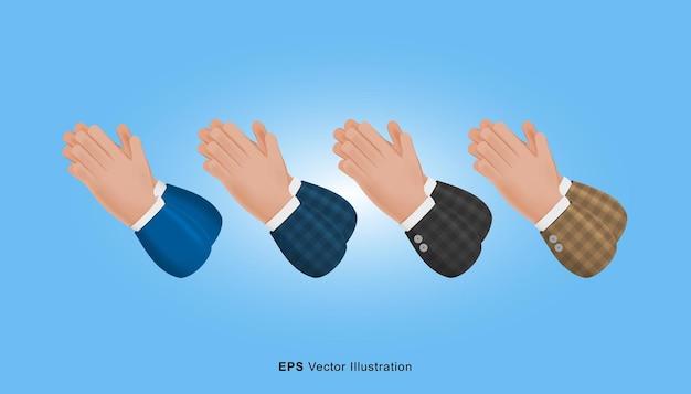 Ensemble de mains différentes de couleur geste illustration de dessin animé 3d isolé sur fond bleu