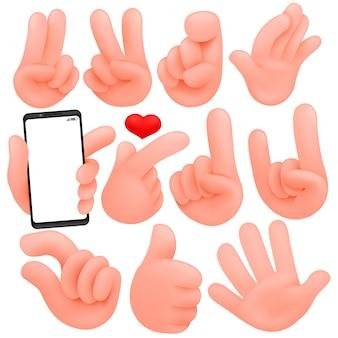 Ensemble de mains humaines de dessin animé. objets de dessin animé et isolés. collection de divers gestes (pouces vers le haut, victoire).