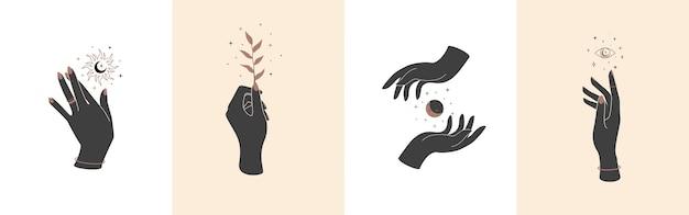 Ensemble de mains magiques avec des symboles mystiques célestes éléments vectoriels avec soleil et oeil de plante lunaire