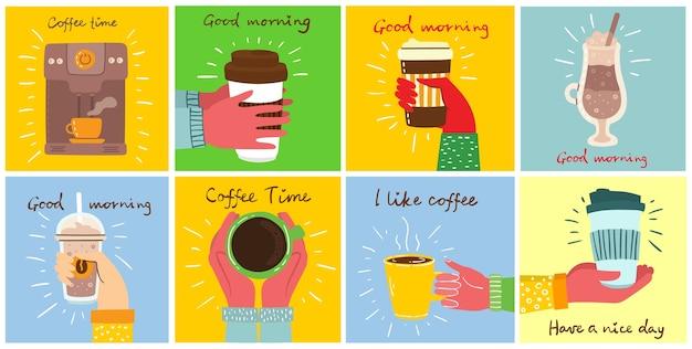 Ensemble de mains tiennent une tasse de café noir chaud ou de boisson