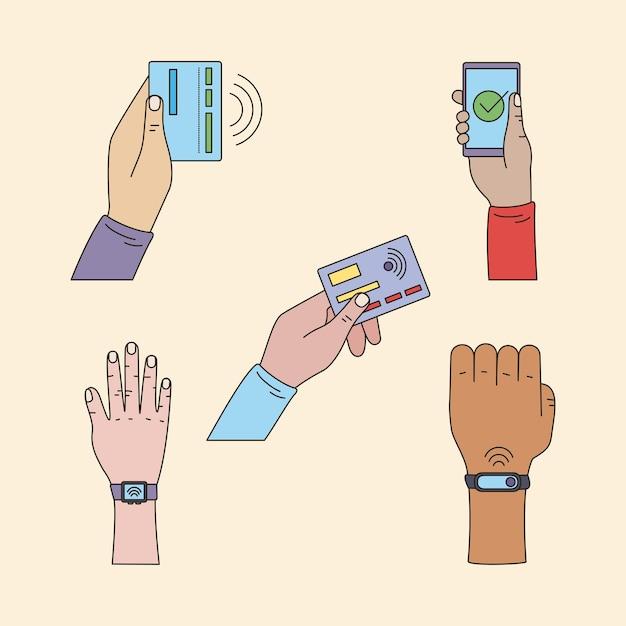 Ensemble de mains d'utilisateurs de paiement sans contact