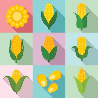 Ensemble de maïs, style plat
