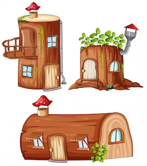 Ensemble de maison en bois enchantée