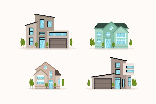 Ensemble de maison design plat