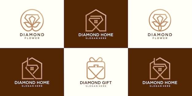 Ensemble de maison de diamant, fleurs de diamant et logo cadeau de diamant