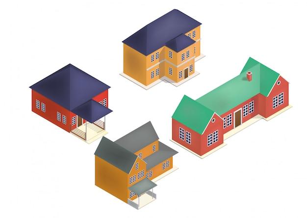 Ensemble de maison isométrique