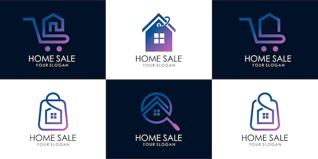 Ensemble de maison de magasin, recherche de maison, vente chaude, maison d'escompte, vente à la maison. modèle de conception de logo. vecteur premium partie 3